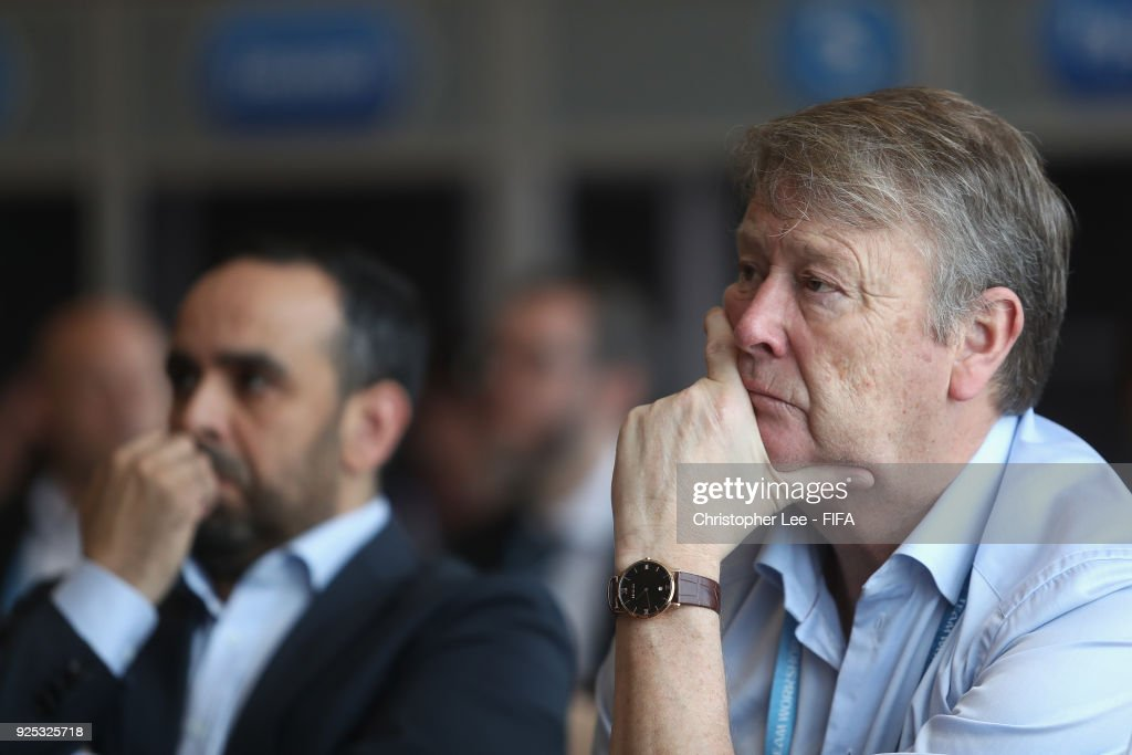 Head Coach Age Hareide of Denmark listens in during the Technical Workshop during Day 2 of the 2018 FIFA World Cup Russia Team Workshop on February 28, 2018 in Sochi, Russia.