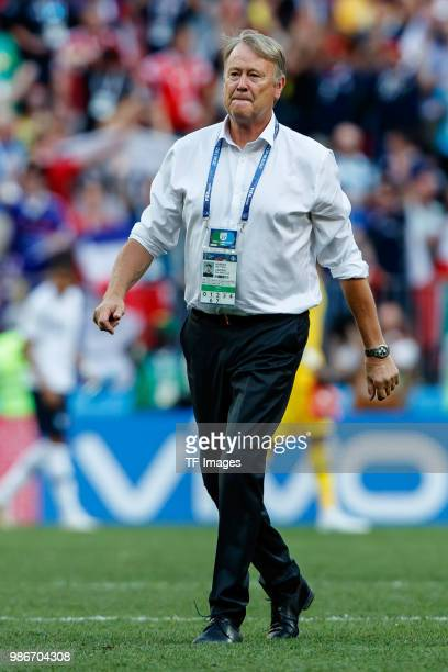 Head coach Age Hareide of Denmark looks on after the 2018 FIFA World Cup Russia group C match between Denmark and France at Luzhniki Stadium on June...