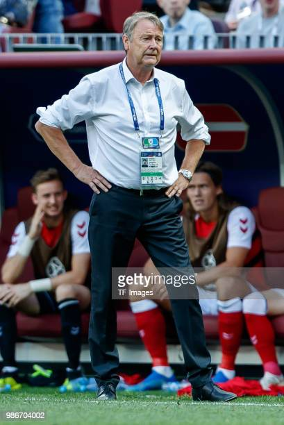 Head coach Age Hareide of Denmark looks on during the 2018 FIFA World Cup Russia group C match between Denmark and France at Luzhniki Stadium on June...