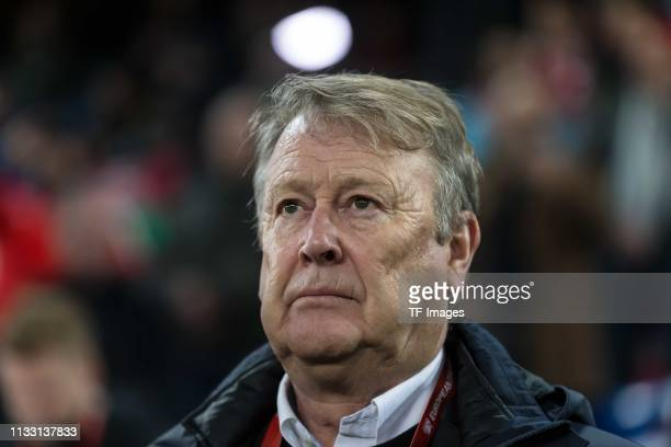 head coach Age Hareide of Denmark looks on prior to the 2020 UEFA European Championships group D qualifying match between Switzerland and Denmark at...