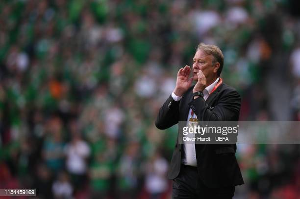 Head coach Age Hareide of Denmark reacts during the UEFA Euro 2020 Qualifier match between Denmark and Republic of Ireland at Telia Parken Stadion at...