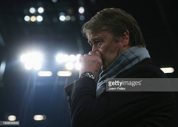 Head coach Age Hareide of Helsingborg gestures prior to the UEFA Europa League Group L match between Hannover 96 and Helsingborgs IF at AWD Arena on...