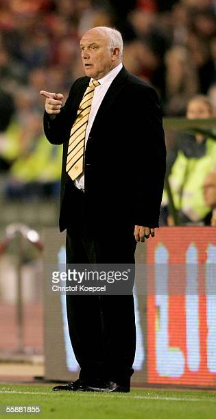 Head coach Aime Anthuenis of Belgium issues instructuctions to his team during the FIFA World Cup 2006 Qualifier match between Belgium and Spain at...