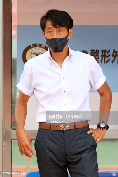 Head coach Akira Ito of Ventforet Kofu wearing a face mask is seen prior to the J.League Meiji Yasuda J2 match between Ventforet Kofu and Albirex...