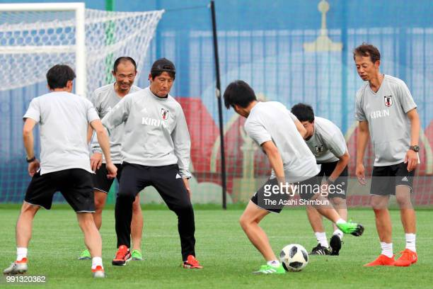 Head coach Akira Nishino coaches and staffs play on July 3 2018 in Kazan Russia