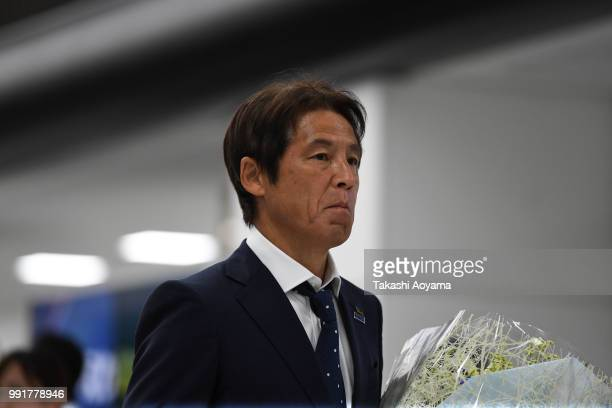 Head coach Akira Nishino is seen on arrival at Narita International Airport on July 5 2018 in Narita Narita Japan