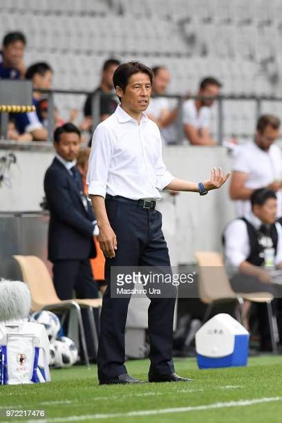 Head coach Akira Nishino of Japan looks on during the international friendly match between Japan and Paraguay at Tivoli Stadion on June 12 2018 in...