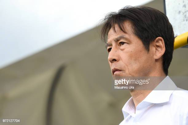 Head coach Akira Nishino of Japan looks on prior to the international friendly match between Japan and Paraguay at Tivoli Stadion on June 12 2018 in...
