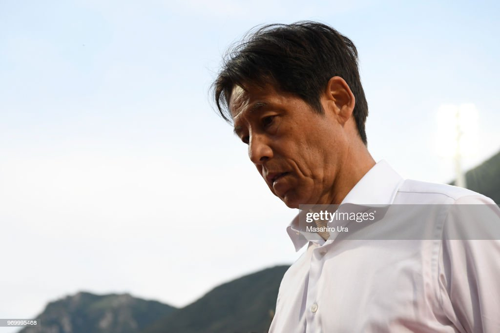 Head coach Akira Nishino of Japan show dejection after their 0-2 defeat during the international friendly match between Switzerland and Japan at the Stadium Cornaredo on June 8, 2018 in Lugano, Switzerland.