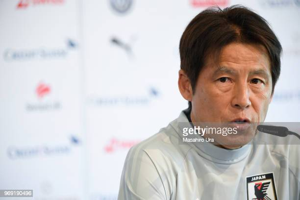 Head coach Akira Nishino speaks to the media during a press conference ahead of the international friendly match against Switzerland at the Stadium...