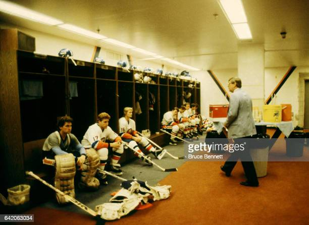 Head coach Al Arbour of the New York Islanders walks in the locker room before an NHL game circa September 1983 at the Nassau Coliseum in Uniondale...