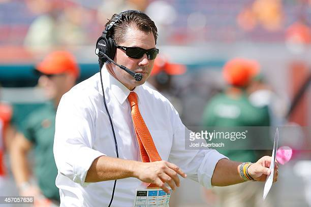 Head coach Al Golden of the Miami Hurricanes directs the team during first quarter action against the Cincinnati Bearcats on October 11, 2014 at Sun...