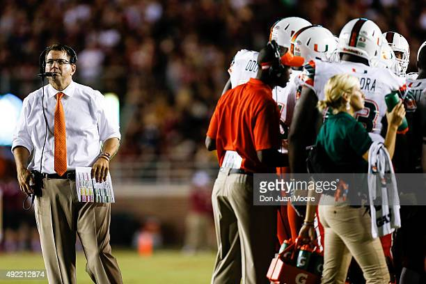 Head Coach Al Golden of the Miami Hurricanes during the game against the Florida State Seminoles at Doak Campbell Stadium on Bobby Bowden Field on...