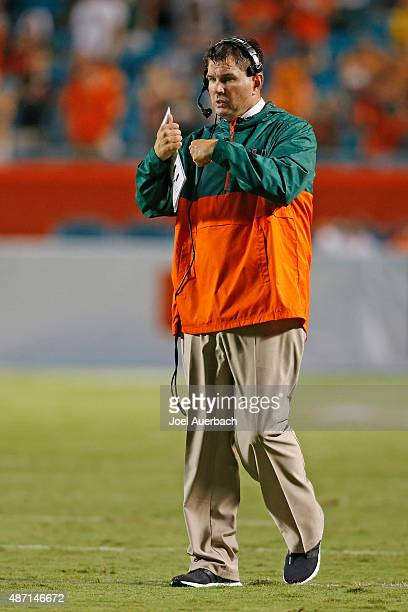 Head coach Al Golden of the Miami Hurricanes gestures towards a player during second quarter action against the Bethune-Cookman Wildcats on September...