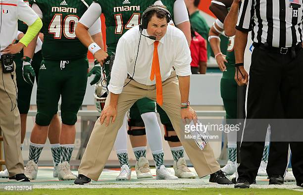 Head coach Al Golden of the Miami Hurricanes looks on during a game against the Virginia Tech Hokies at Sun Life Stadium on October 17, 2015 in Miami...