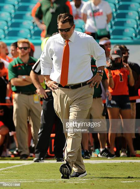 Head coach Al Golden of the Miami Hurricanes looks on during a game against the Clemson Tigers at Sun Life Stadium on October 24, 2015 in Miami...