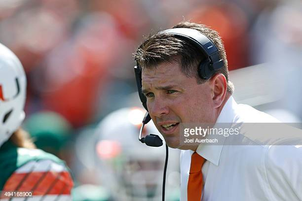 Head coach Al Golden of the Miami Hurricanes looks on during first quarter action against the Clemson Tigers on October 24, 2015 at Sun Life Stadium...