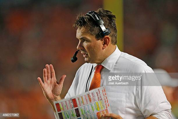 Head coach Al Golden of the Miami Hurricanes looks on during second quarter action against the Duke Blue Devils on September 27, 2014 at Sun Life...