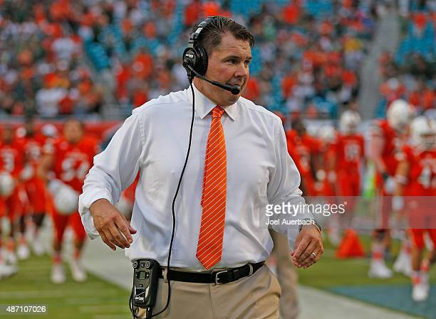 Head coach Al Golden of the Miami Hurricanes prepares for the start of the game against the Bethune-Cookman Wildcats on September 5, 2015 at Sun Life...