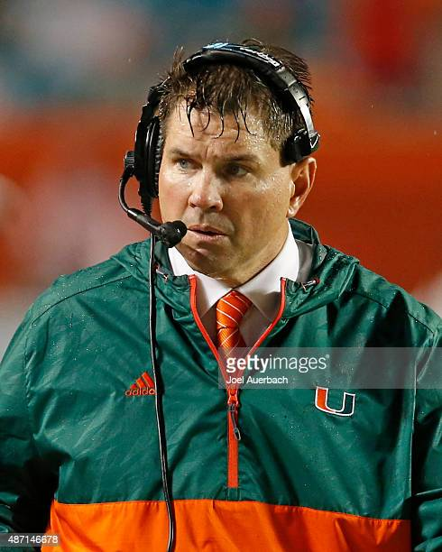 Head coach Al Golden of the Miami Hurricanes walks along the sideline during third quarter action against the Bethune-Cookman Wildcats on September...