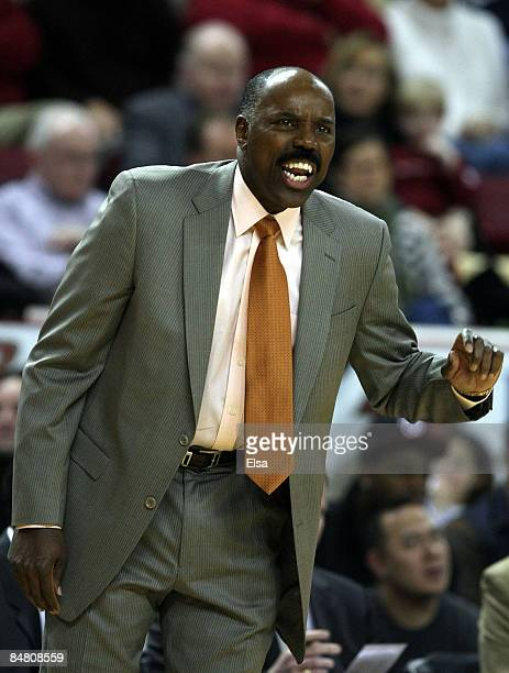 Head coach Al Skinner of the Boston College Eagles directs his players in the first half against the Duke Blue Devils on February 15 2009 at Conte...