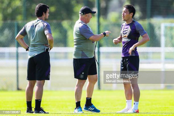 Head coach Alain Casanova and Gen Shoji of Toulouse during a Toulouse FC Training session on July 4 2019 in Toulouse France