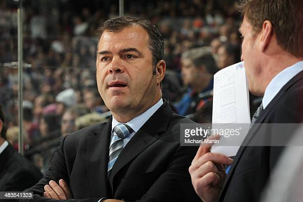 Head coach Alain Vigneault of the Colorado Avalanche skates against the New York Rangers at the Pepsi Center on April 03 2014 in Denver Colorado The...
