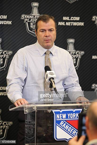 Head coach Alain Vigneault of the New York Rangers addresses the media following his teams 32 win over the Washington Capitals in Game Two of the...