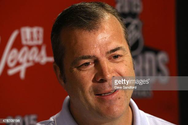 Head Coach Alain Vigneault of the New York Rangers attends the 2015 NHL Awards nominee media availability at the MGM Grand Garden Arena on June 23...