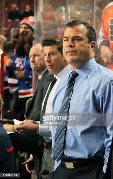 Head Coach Alain Vigneault of the New York Rangers looks on during warmups prior to his game against the Philadelphia Flyers on March 1 2014 at the...