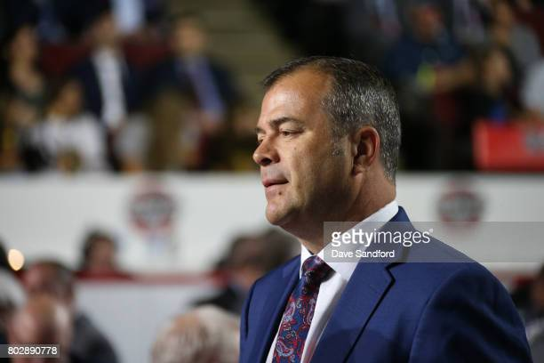 Head coach Alain Vigneault of the New York Rangers looks on during the 2017 NHL Draft at United Center on June 24 2017 in Chicago Illinois