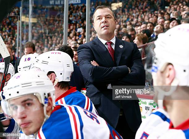 Head coach Alain Vigneault of the New York Rangers looks on from the bench against the Vancouver Canucks during their NHL game at Rogers Arena...
