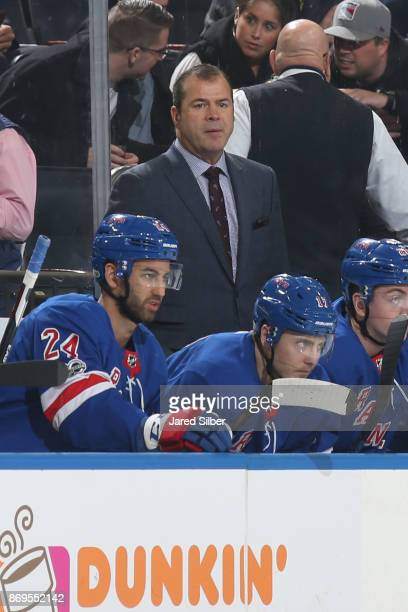 Head coach Alain Vigneault of the New York Rangers looks on from the bench against the Vegas Golden Knights at Madison Square Garden on October 31...
