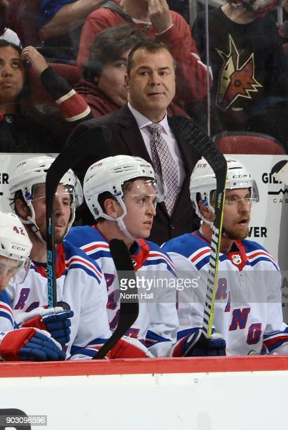 Head coach Alain Vigneault of the New York Rangers looks on from the bench during a game against the Arizona Coyotes at Gila River Arena on January 6...