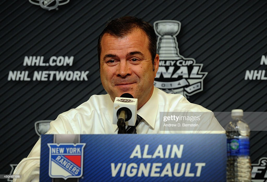 Head coach Alain Vigneault of the New York Rangers speaks to the media following his team's 2-1 victory over the Los Angeles Kings in Game Four of the 2014 Stanley Cup Final at Madison Square Garden on June 11, 2014 in New York City.