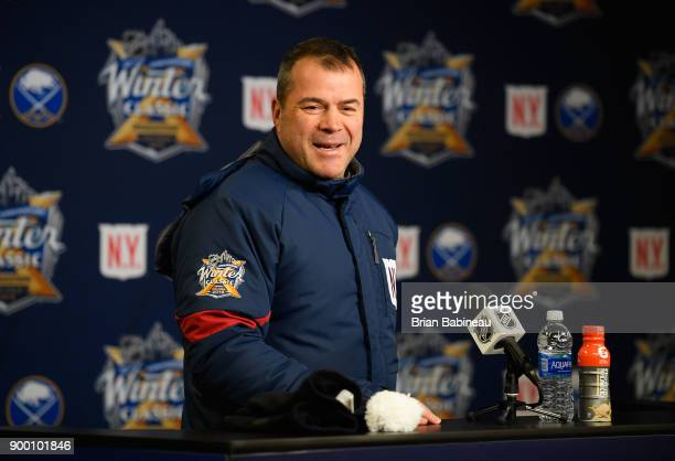Head coach Alain Vigneault of the New York Rangers speaks to the media after practice at Citi Field on December 31 2017 in the Flushing neighborhood...