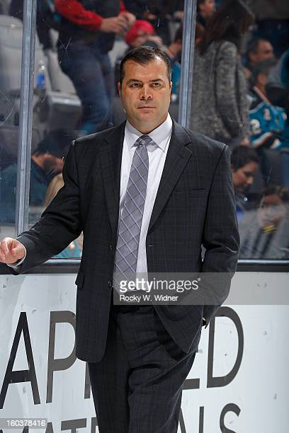 Head coach Alain Vigneault of the Vancouver Canucks during the game against the San Jose Sharks at the HP Pavilion on January 27 2013 in San Jose...