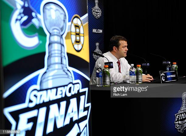 Head coach Alain Vigneault of the Vancouver Canucks talks to the media after Game Five of the 2011 NHL Stanley Cup Final at Rogers Arena on June 10...