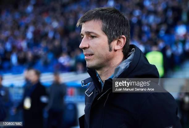 Head coach Albert Celades of Valencia CF looks on prior to the start the La Liga match between Real Sociedad and Valencia CF at Estadio Anoeta on...