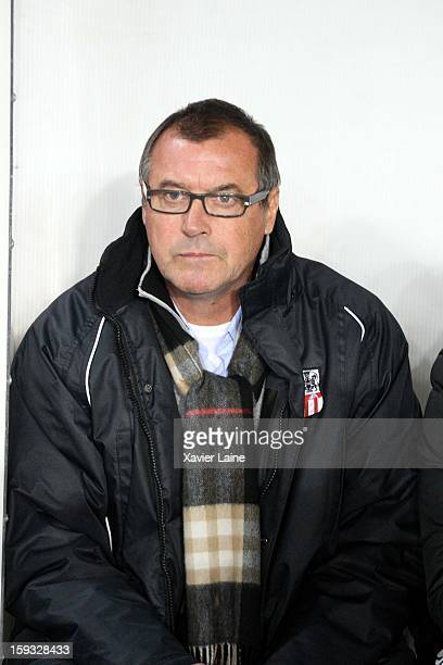 Head coach Albert Emon of Ajaccio AC during the French Ligue 1 between Paris SaintGermain FC and Ajaccio AC at Parc des Princes on January 11 2013 in...