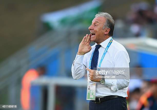 Head coach Alberto Zaccheroni of Japan gestures during the 2014 FIFA World Cup Brazil Group C match between Japan and Colombia at Arena Pantanal on...