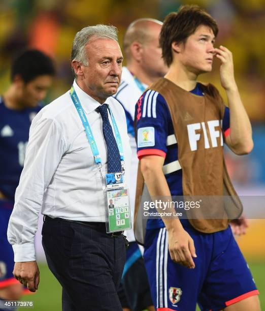 Head coach Alberto Zaccheroni of Japan looks on after the 2014 FIFA World Cup Brazil Group C match between Japan and Colombia at Arena Pantanal on...