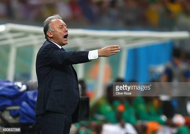 Head coach Alberto Zaccheroni of Japan looks on during the 2014 FIFA World Cup Brazil Group C match between the Ivory Coast and Japan at Arena...