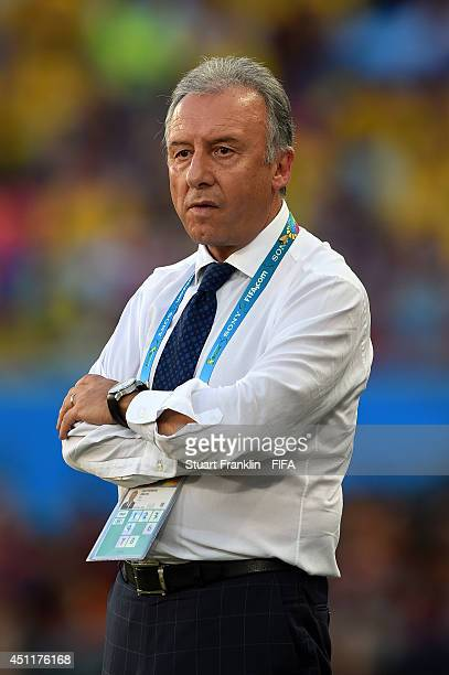 Head coach Alberto Zaccheroni of Japan looks on during the 2014 FIFA World Cup Brazil Group C match between Japan and Colombia at Arena Pantanal on...