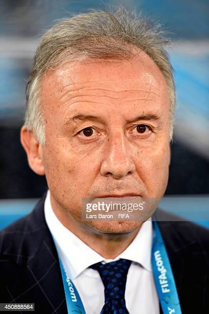 Head coach Alberto Zaccheroni of Japan looks on prior to the 2014 FIFA World Cup Brazil Group C match between Japan and Greece at Estadio das Dunas...