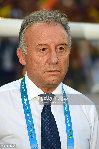 Head coach Alberto Zaccheroni of Japan looks on prior to the 2014 FIFA World Cup Brazil Group C match between Japan and Colombia at Arena Pantanal on...