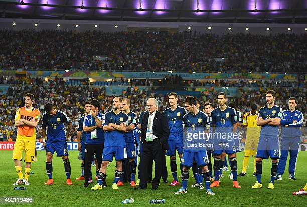 Head coach Alejandro Sabella Lionel Messi and players of Argentina show their dejection before the award ceremony after the 2014 FIFA World Cup...