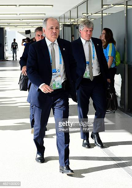 Head coach Alejandro Sabella of Argentina arrives at the stadium prior to the 2014 FIFA World Cup Brazil Final match between Germany and Argentina at...