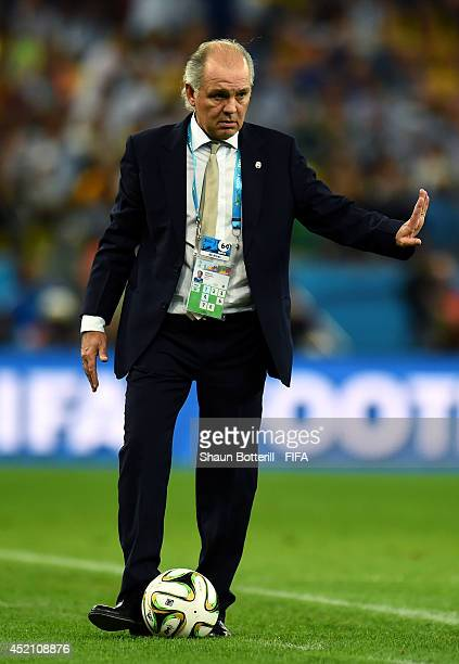 Head coach Alejandro Sabella of Argentina controls the ball during the 2014 FIFA World Cup Brazil Final match between Germany and Argentina at...