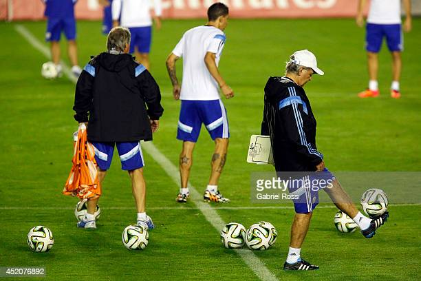 Head Coach Alejandro Sabella of Argentina during a training session prior to the World Cup final match between Argentina and Germany at Sao Januario...
